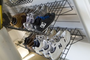 shoe rack in basement