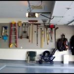 Garage floor and shelving
